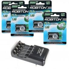 Комплект из 8 Ni-Zn аккумуляторов Robiton Ni-Zn AA и зарядного устройства Robiton 3in1 Charger
