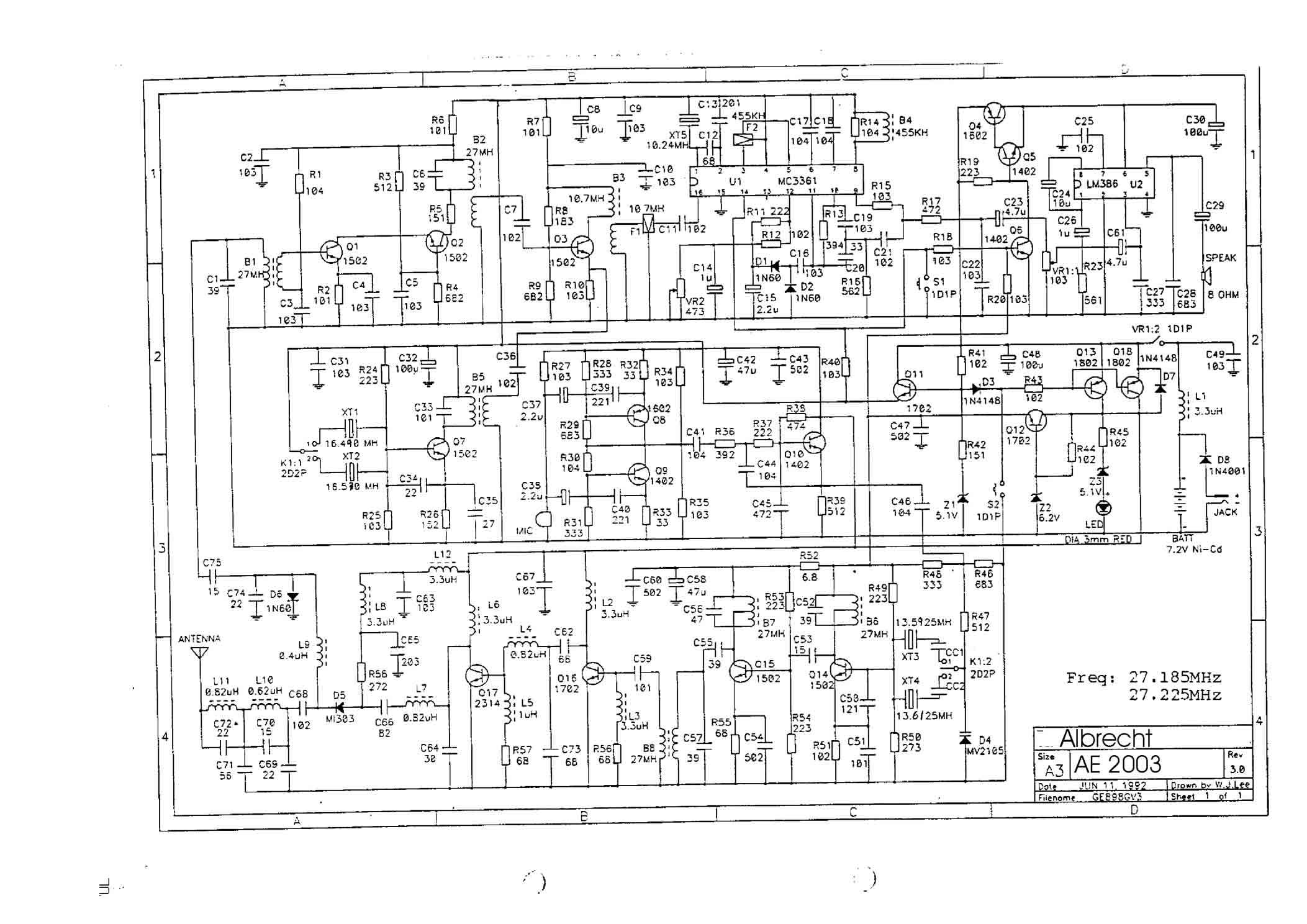 Схема портативной радиостанции Альбрехт AE2003