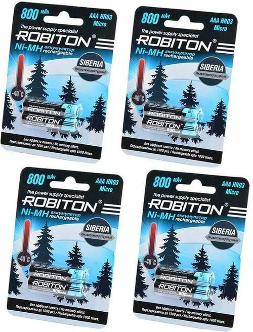 Комплект из 8  АAА аккумуляторов Robiton SIBERIA 800 mAh